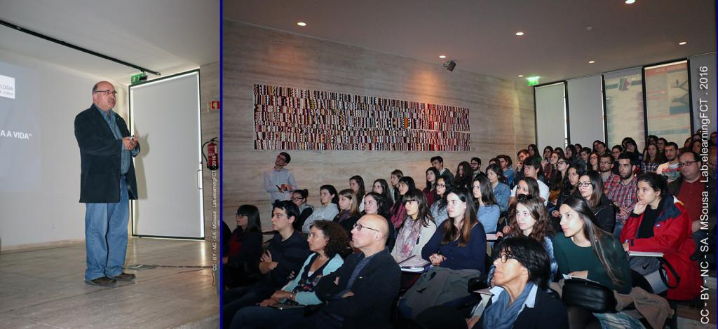 Anfiteatro cheio de estudantes e professores de Biologia Celular e Molecular da Nova FCT.